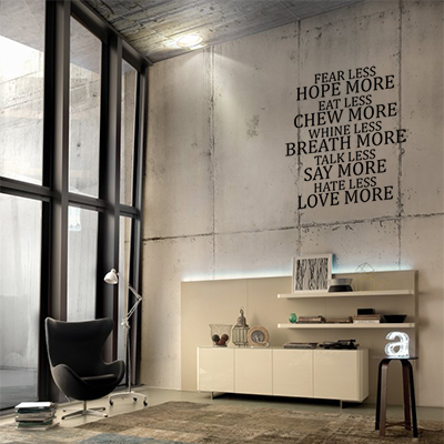 Estans #muursticker #woonkamer# muurtekst Fear Less | ideas living ...