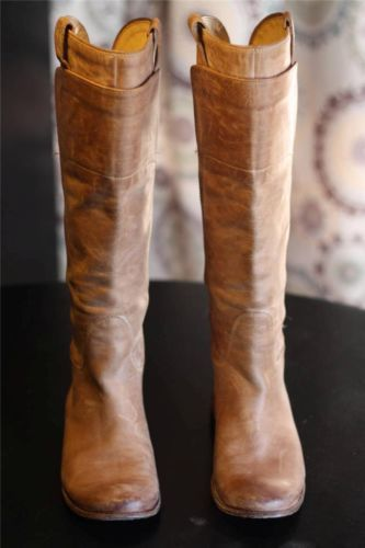 Frye Paige Tall Riding Boots 77534 Burnished Tan Antique Leather Equestrian  6.5