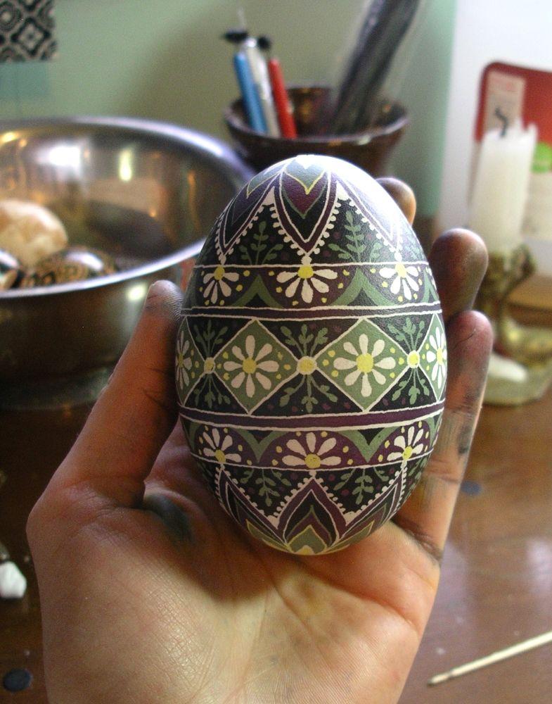 Daisy Pysanka. Ukrainian Art Form. Pysanky eggs.