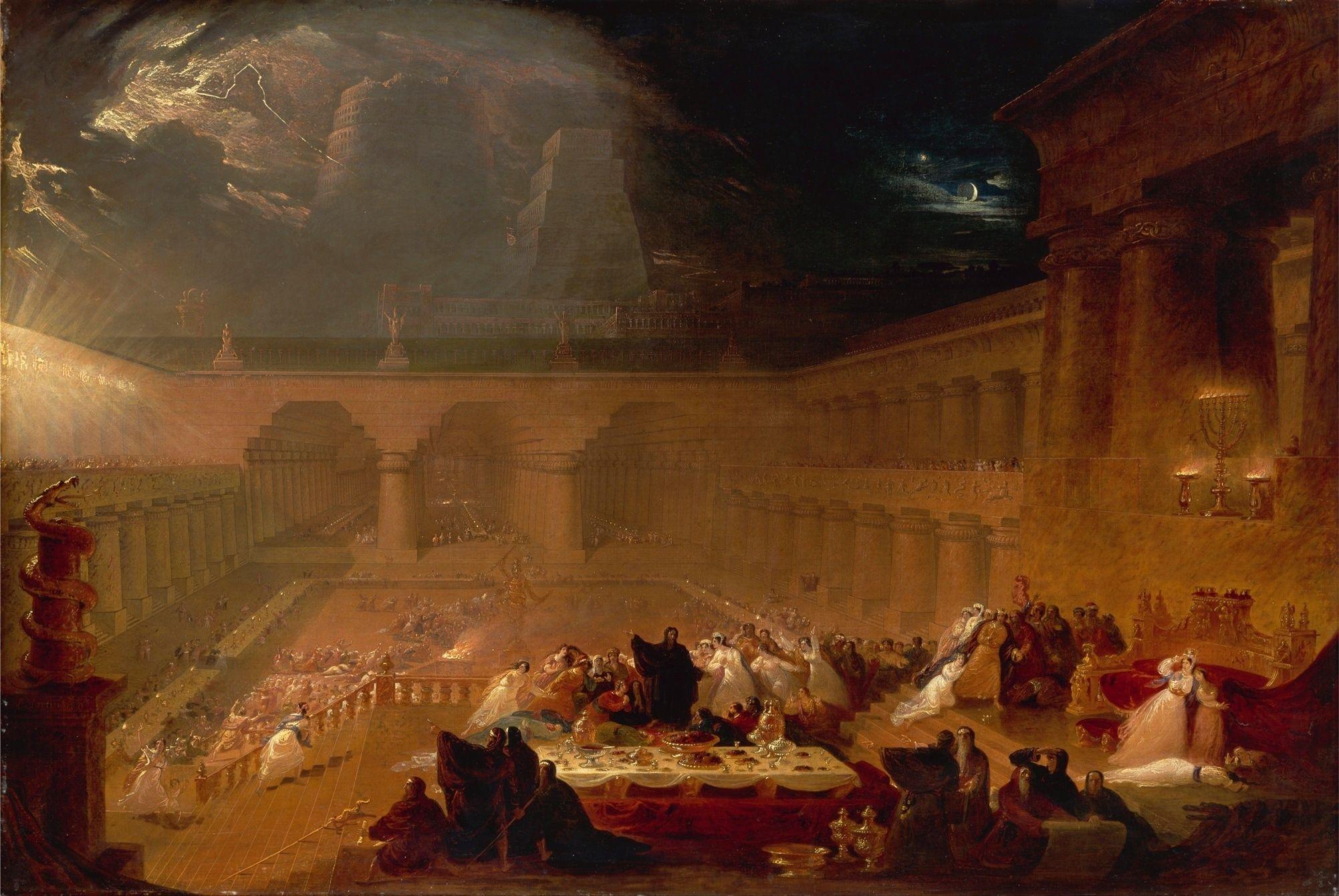 """John-Martin """"Belshazzar's Feast""""  Scene fra oldtidens Babylon i Bibelen. Babels tårn er i bakgrunnen."""