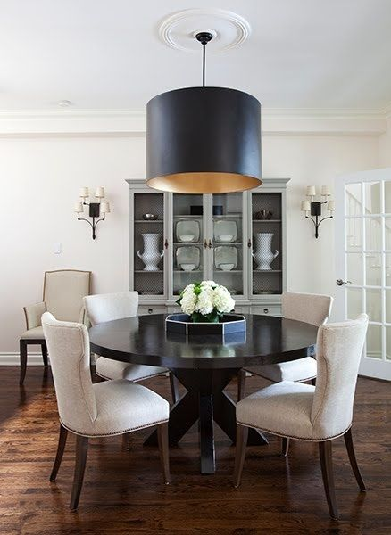 Sophisticated Elegant Chic Dining Room  Black Lamp Chandelier Classy Circular Dining Room Table Design Ideas