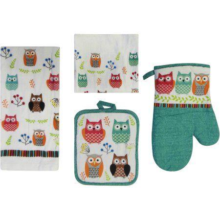 Buy Mainstays Owl 7-Piece Kitchen Set at Walmart.com | Kitchen decor ...