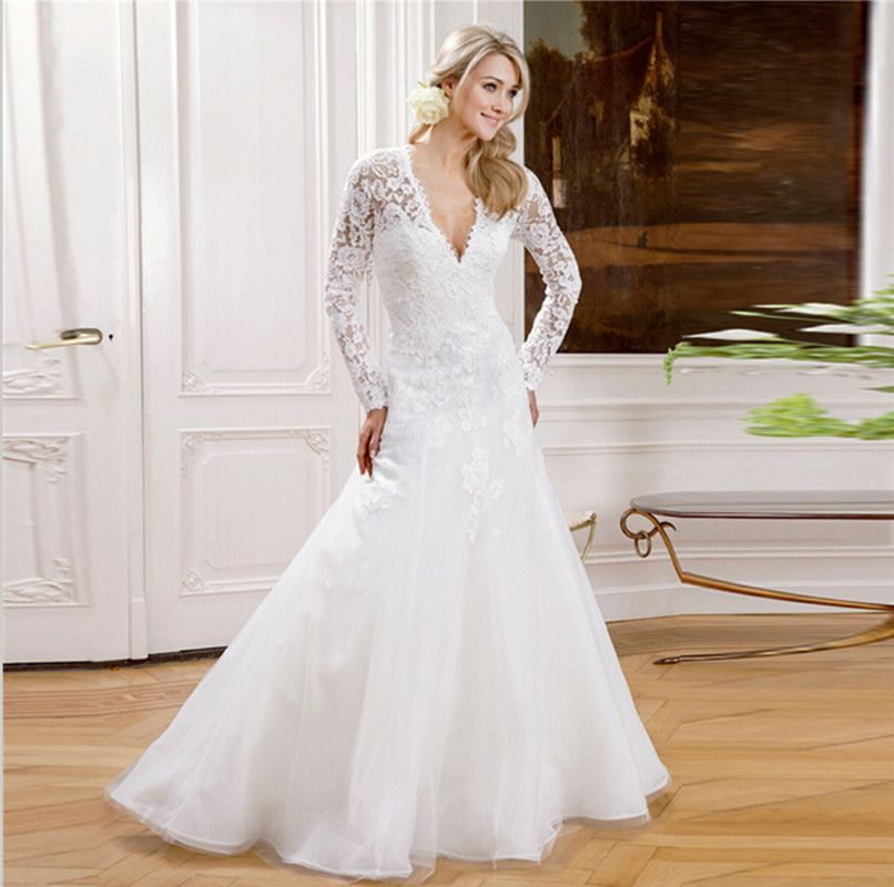 Donu0027s Long Sleeved Lace Wedding Dresses Muslim V Neck Simple See Through  Corset Bridal Gowns