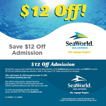 Discount Coupons To Attractions Throughout The San Antonio Area Sea World Seaworld San Antonio Family Vacation Locations