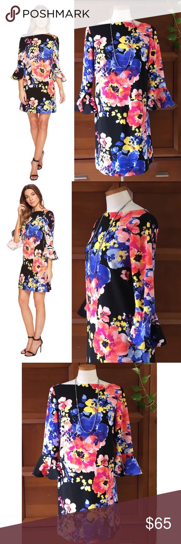 70f3018658d4 Tahari Bell Sleeve Floral Scuba Crepe Shift Dress Tahari ASL