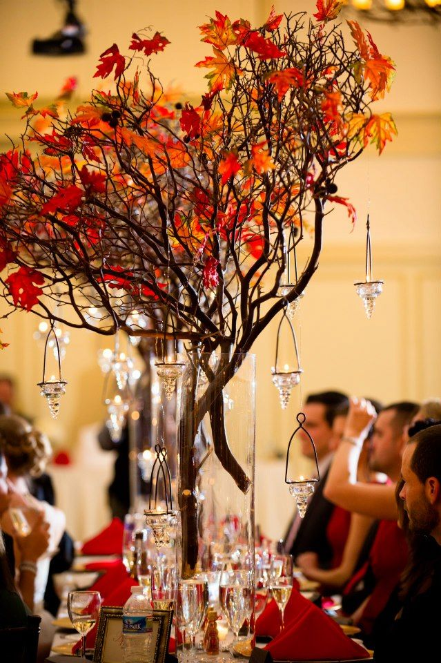Wedding centerpiece autumn branches fall center pieces