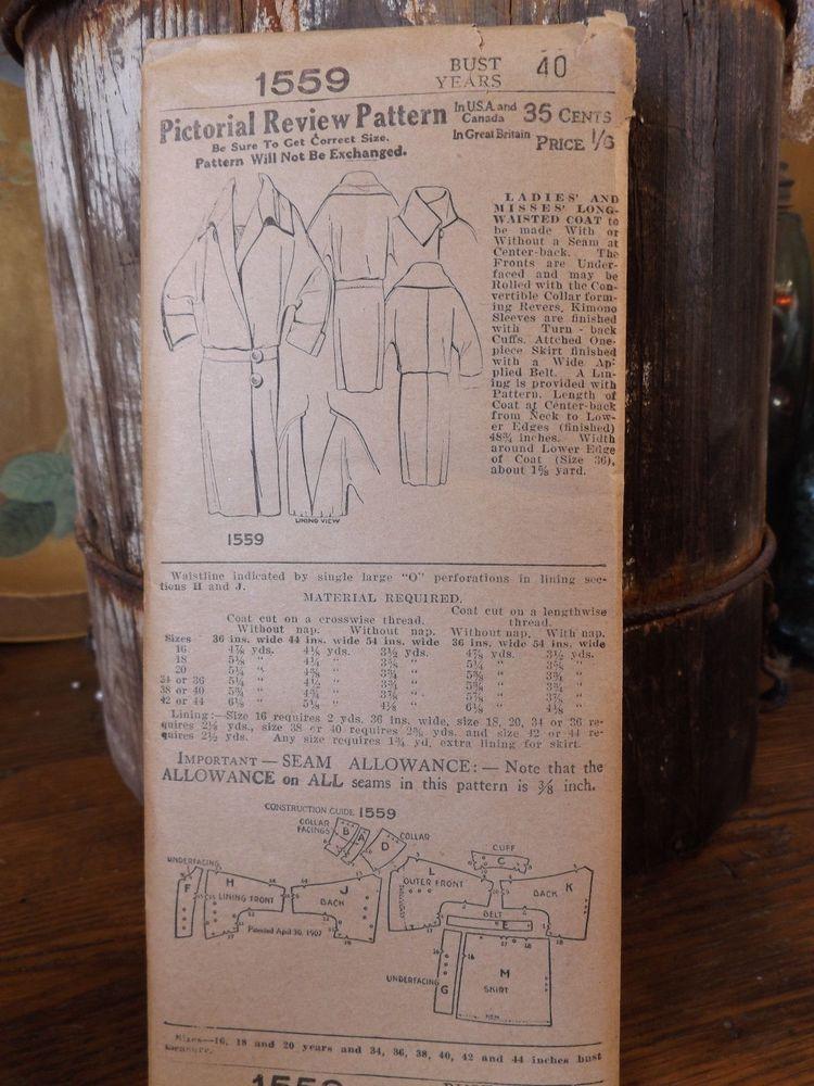 Pictorial Review Pattern-factory folds-antique Coat -Flapper-1920s-B40 1559