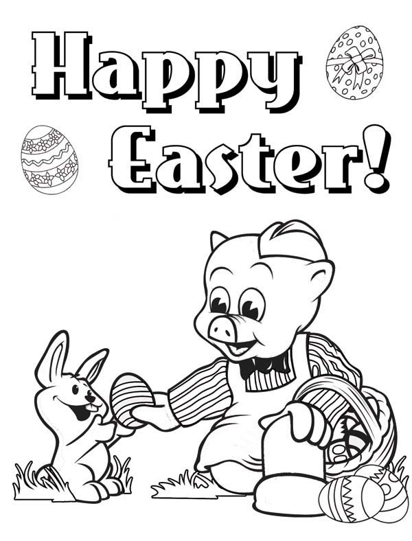 Happy Easter Piggly Wiggly Give Egg To A Rabbit Coloring Pages Bulk Color