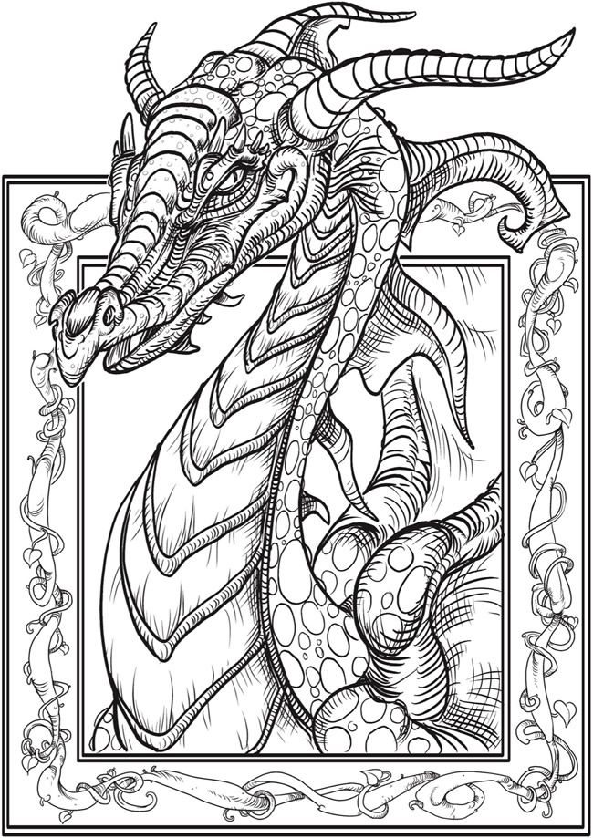 free dragon printable coloring page from dover publications - Coloring Page Dragon