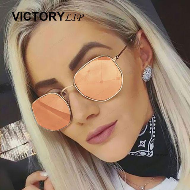 98428511093 VictoryLip 2017 New women Men Sunglasses Mirror Lady Fashion Brand Designer  hexagon Sun Glasses Lady UV400 Female Small Size -in Sunglasses from Women s  ...