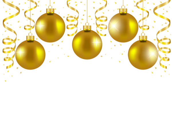 Transparent Gold Christmas Balls Decor PNG Picture