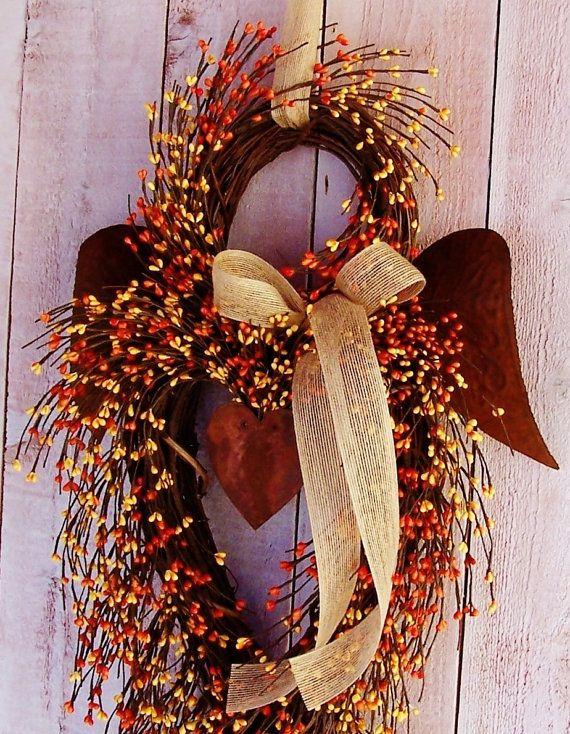 SALE~XXL TWILIGHT Orange Rustic Angel Berry Door Wreath-Spring Wreath-Front Door & SALE~XXL TWILIGHT Orange Rustic Angel Berry Door Wreath-Spring ...