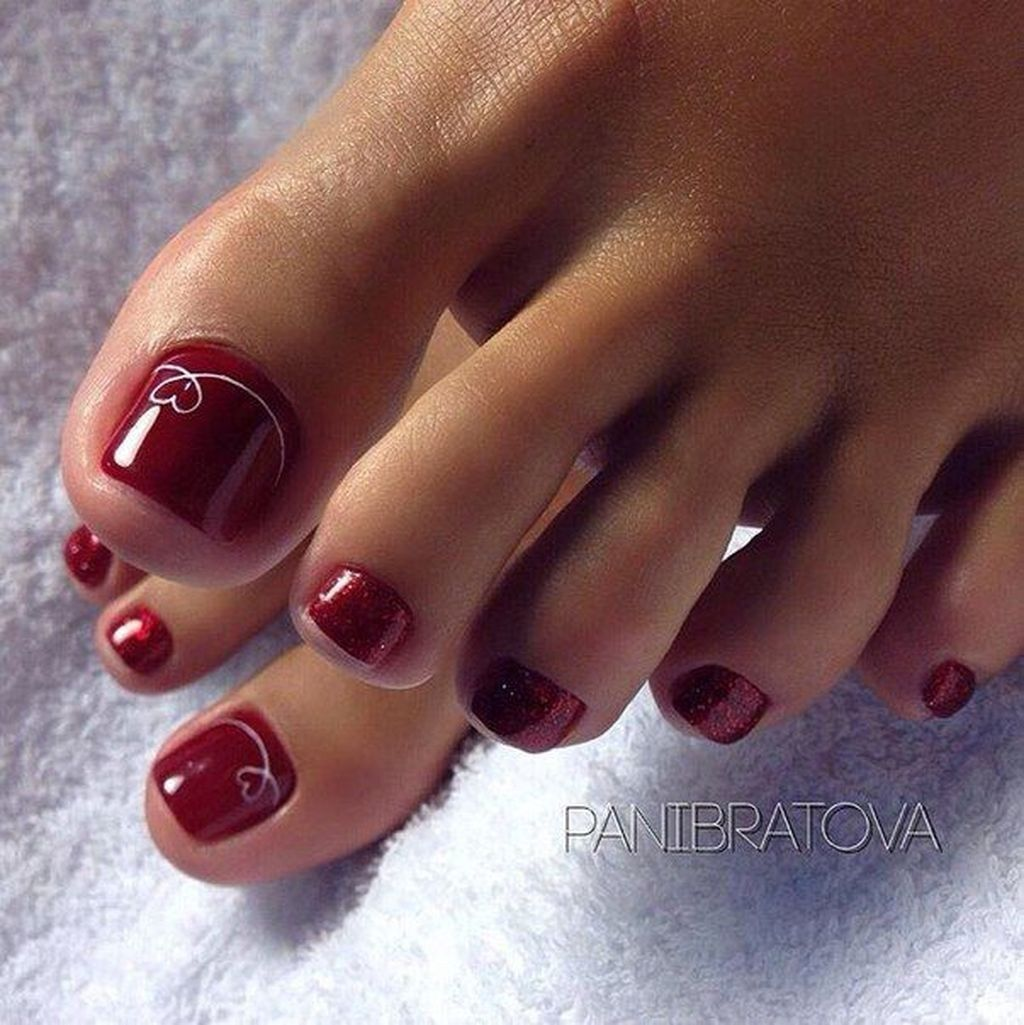 Totally Cool Valentines Day Toe Nails Designs Ideas 15 Pedicure Toe Nails Nails Toe Nail Color