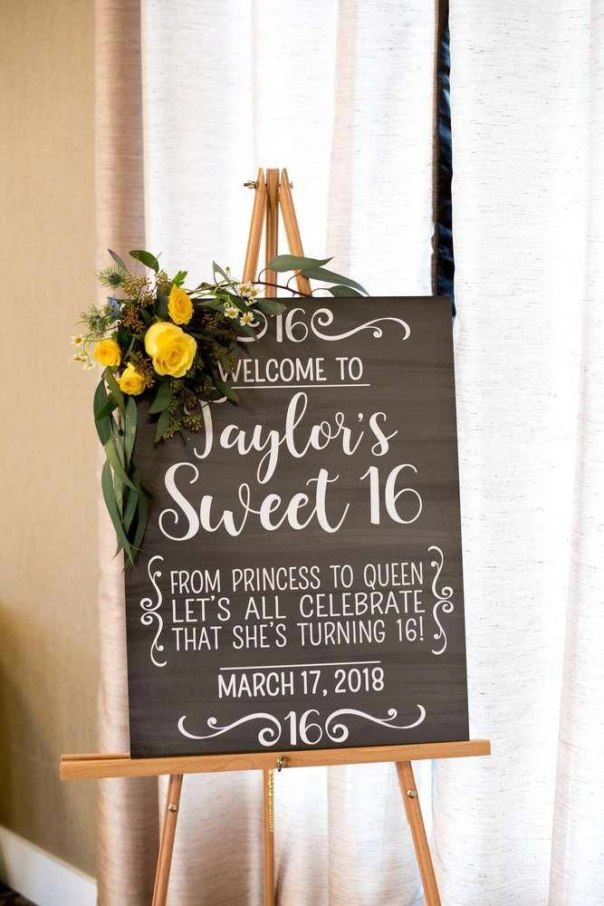 Loving the chalkboard sign at this Sweet 16 birthday party!! See more party ideas and share yours at CatchMyParty.com #catchmyparty #sweet16 #16thbirthdayparty #sweet16partydecorations #sweet16partydecor #birthdaysign #quinceanerapartydecorations #sweet16birthdayparty