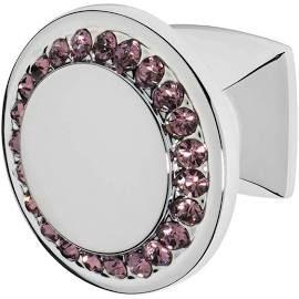 Isabel Polished Chrome Knob, Crystal: Purple, Cabinet Knobs .