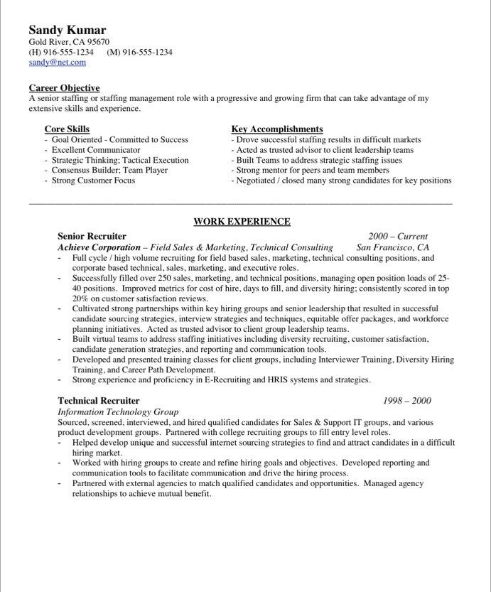 sample resume recruiter us staffing
