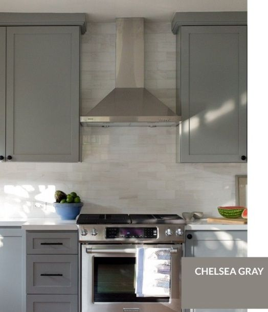 Bm Chelsea Gray Painted Kitchen Cabinets Colors Cabinet Paint Colors Kitchen Cabinet Colors