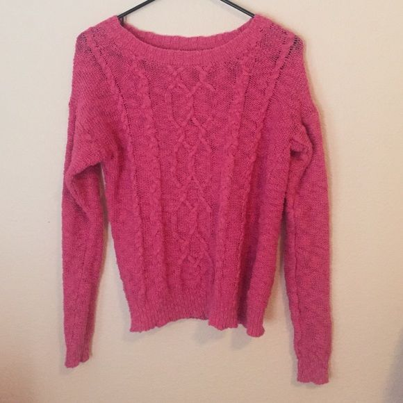 Urban Outfitters Hot Pink Cable-Knit Sweater Staring at Stars Hot Pink Cable-Knit Sweater. Staring at Stars Sweaters Crew & Scoop Necks