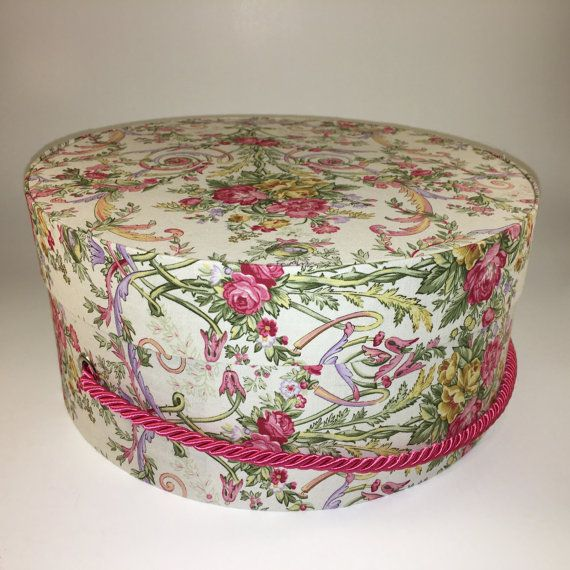 Decorative Round Boxes Hat Box In Jewel Tone Floral Ready To Ship Round Box French