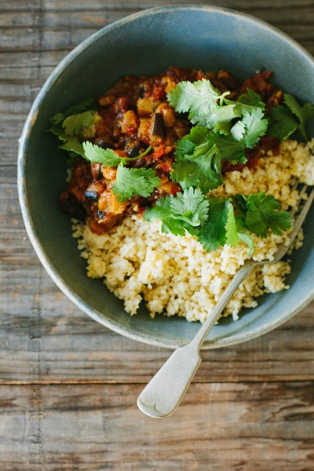 my darling lemon thyme: eggplant + tomato curry with buttered millet