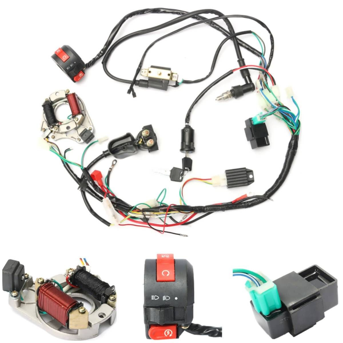 50cc 70cc 90cc 110cc CDI Wire Harness Assembly Wiring Kit ATV ...