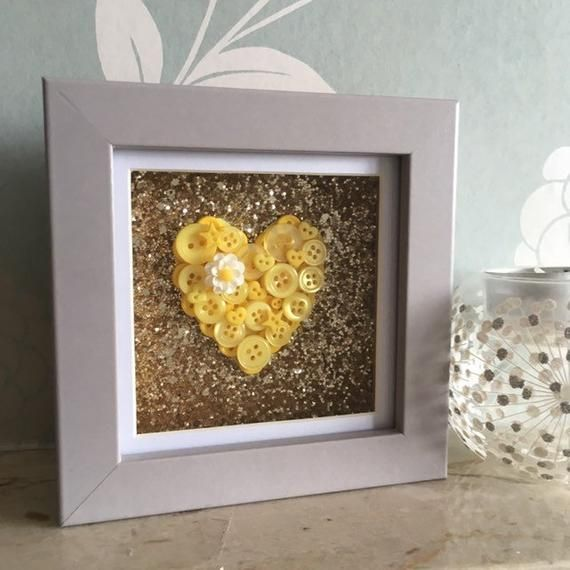 Mini Yellow Button Heart, Mini Frame, Yellow Theme decor Decor, Anniversary gift, Heart Theme Decor, Heart Wall Art, Gold Glitter #goldglitterbackground