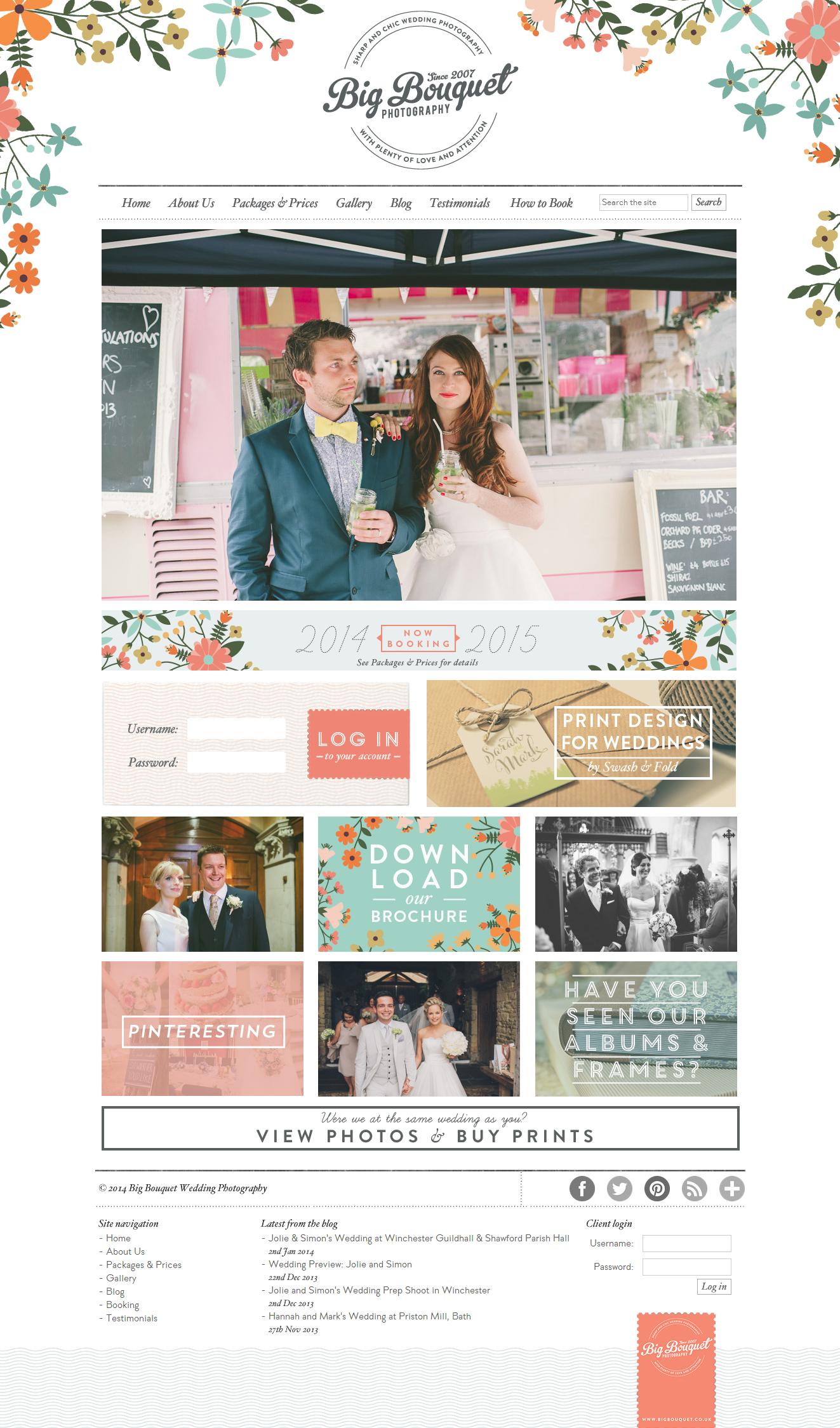 Wedding Photography Websites Inspiration: Big Bouquet Wedding Photography Website