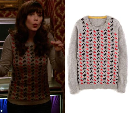 Jess Day (Zooey Deschanel) wears a grey scottie dog pattern sweater on New Girl…