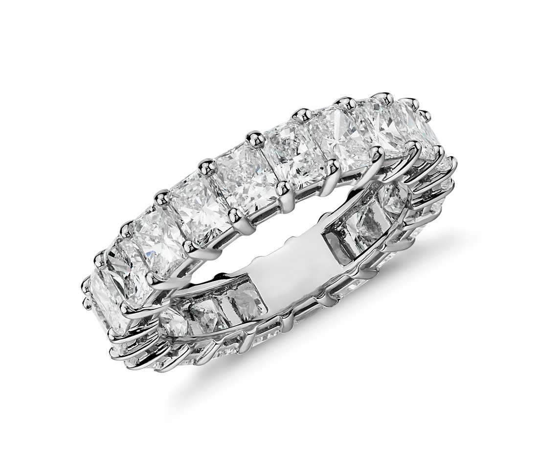 Radiant cut diamond eternity ring in platinum ct tw radiant