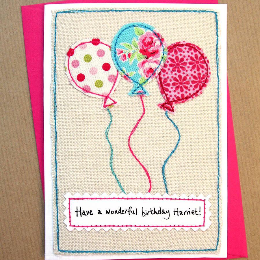 balloons girls handmade birthday card  fabric cards