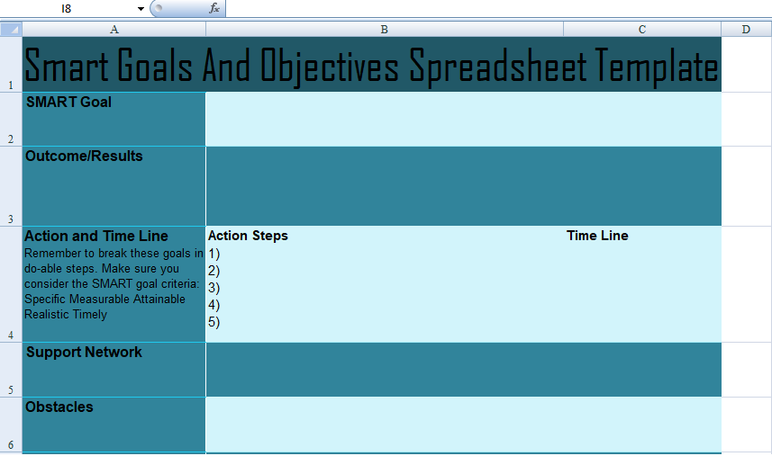 get smart goals and objectives spreadsheet template
