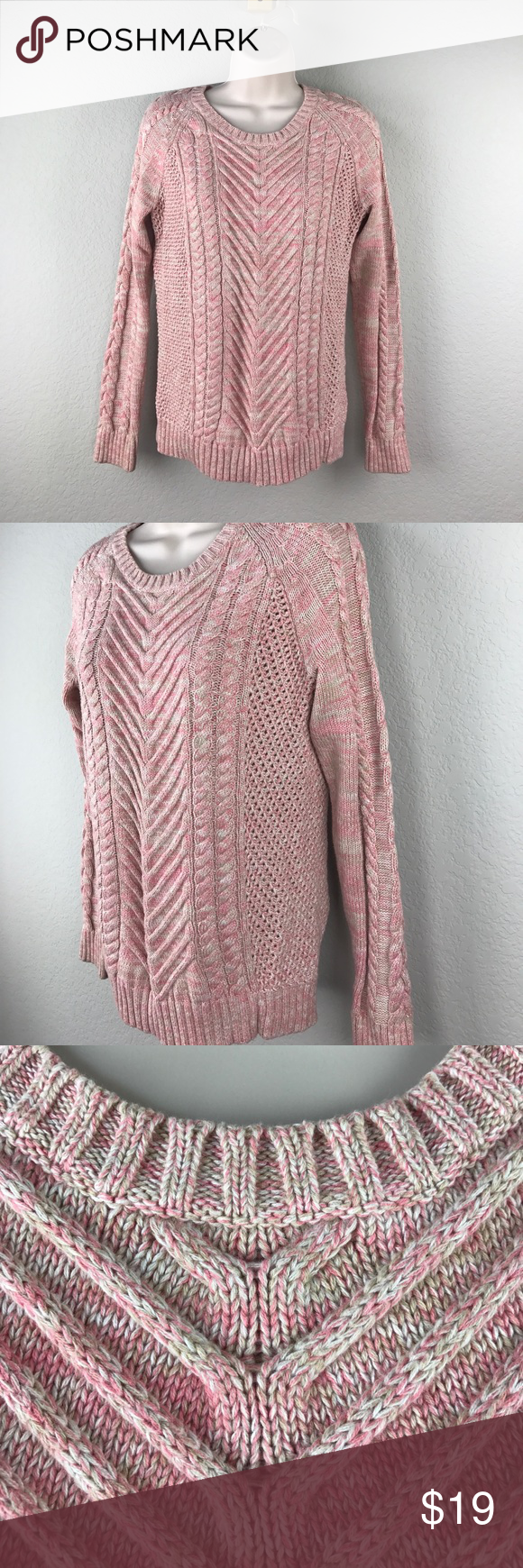 Canvas Land's End pink tan cotton Aran sweater | Aran sweaters ...