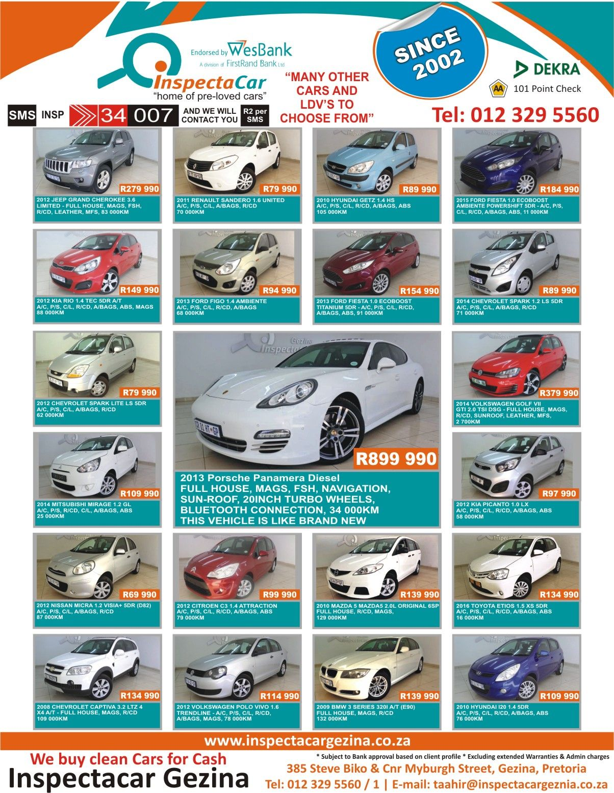 We #Buy Clean #Cars For Cash @ Inspectacar Gezina Many Other Cars ...