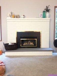 Brick fireplace and Seat cushions