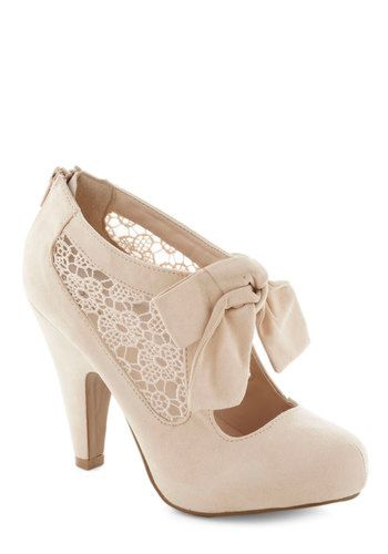 Behold in High Regard Heel - High, Wedding, Vintage Inspired, Tan, Solid, Bows, Crochet, Bridesmaid, Bride, Fairytale, Good, Party, Cocktail...