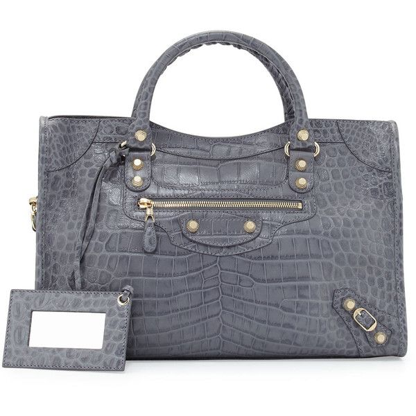Balenciaga Giant 12 City Crocodile-Embossed Shoulder Bag ($2,270 ...