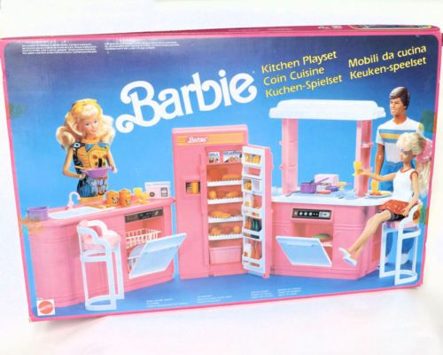 Barbie Mobili ~ Vintage rare 1990 barbie kitchen play set mattel brand new in box