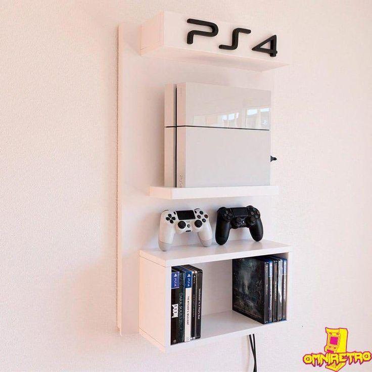 Soporte de pared PS4 con estante para juegos #decoracioncuartoniña - Ps4 - Ideas of Ps4 #ps4 #playstation4 - Soporte de pared PS4 con estante para juegos #decoracioncuartoniña #gamingrooms