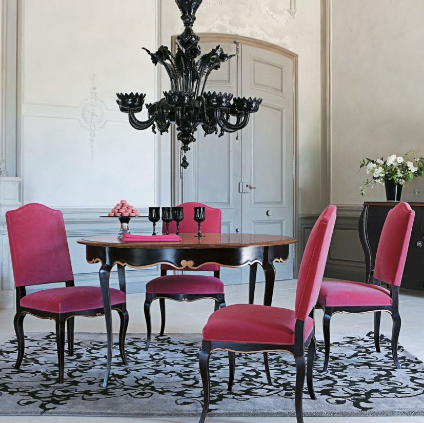 Decorating, Exciting Modern Glam Fuchia Chairs Dining Room: Rustic Dining  Room Furniture To Exert