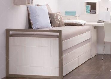 Chambre ado au design scandinave avec lit bureau caisson et