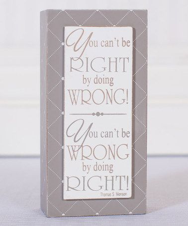 Look what I found on #zulily! Right & Wrong Block Sign #zulilyfinds