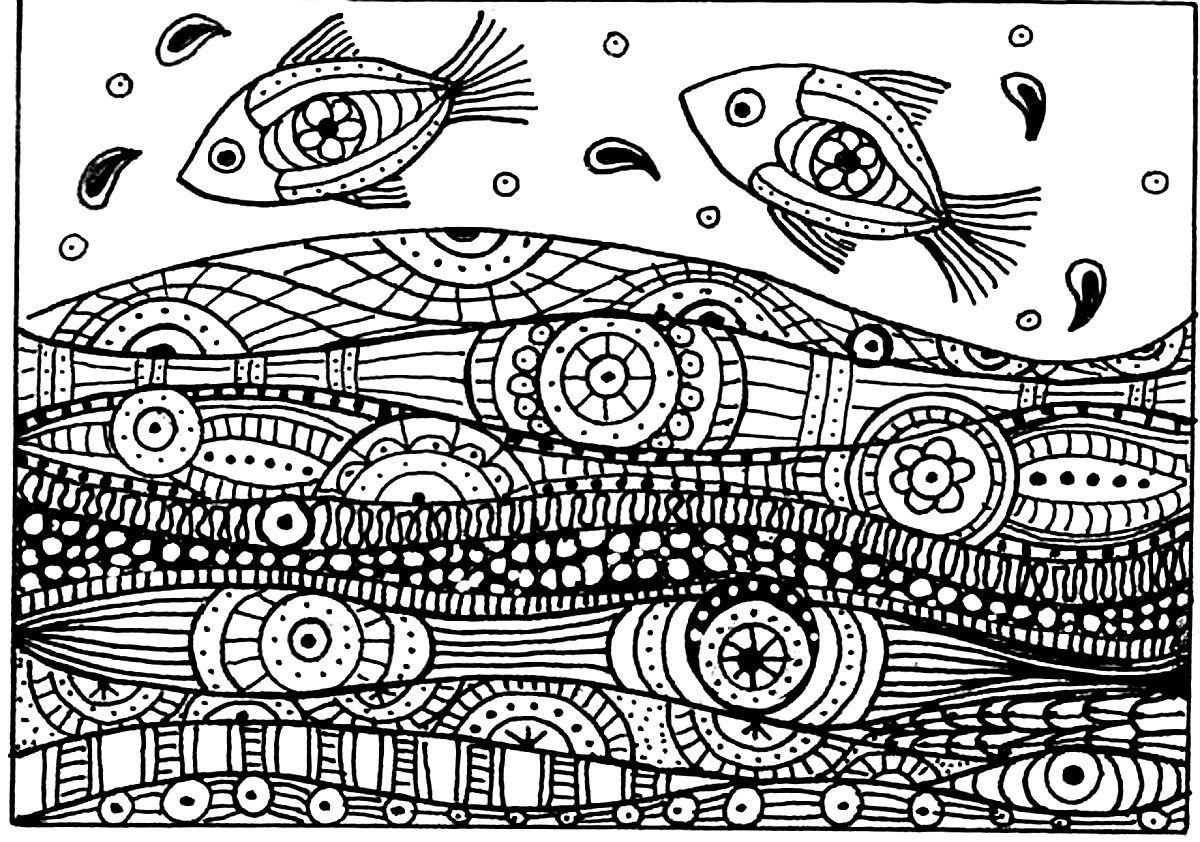 Páginas para colorear gratis colorear-adultos-peces-onda-patrones ...