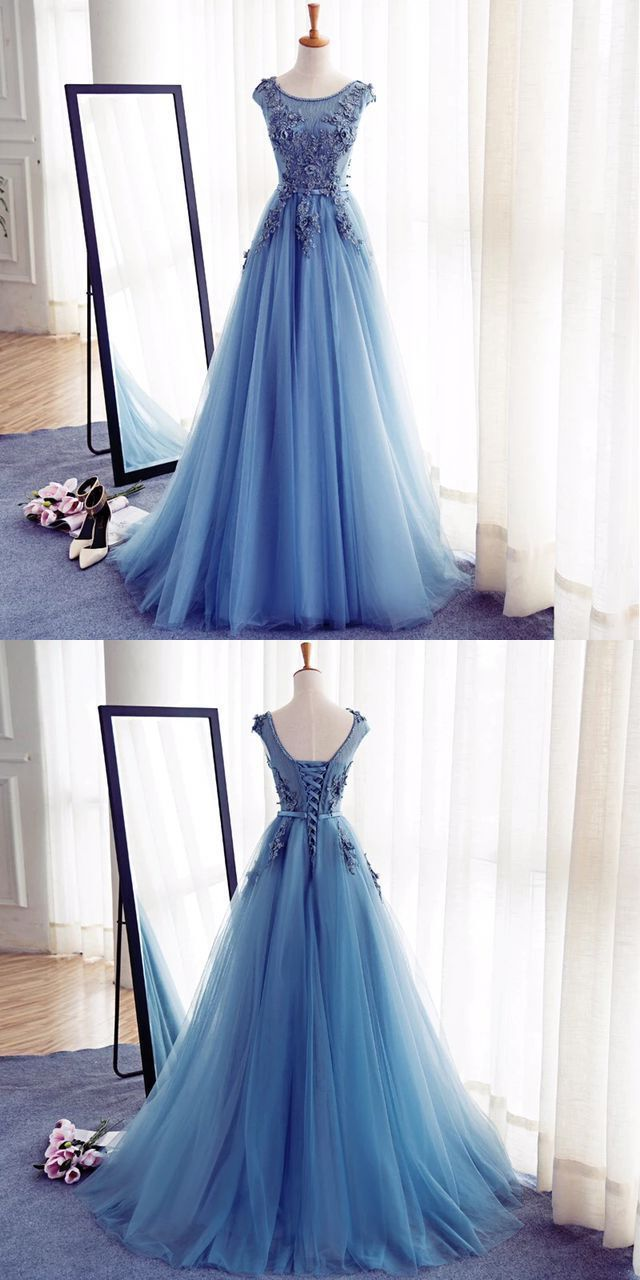 Charming Round Neck Blue Tulle Handmade Long Prom Dress | Love prom ...