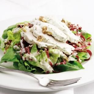 Ready to lighten up the menu with this Spring chicken and blues cheese salad
