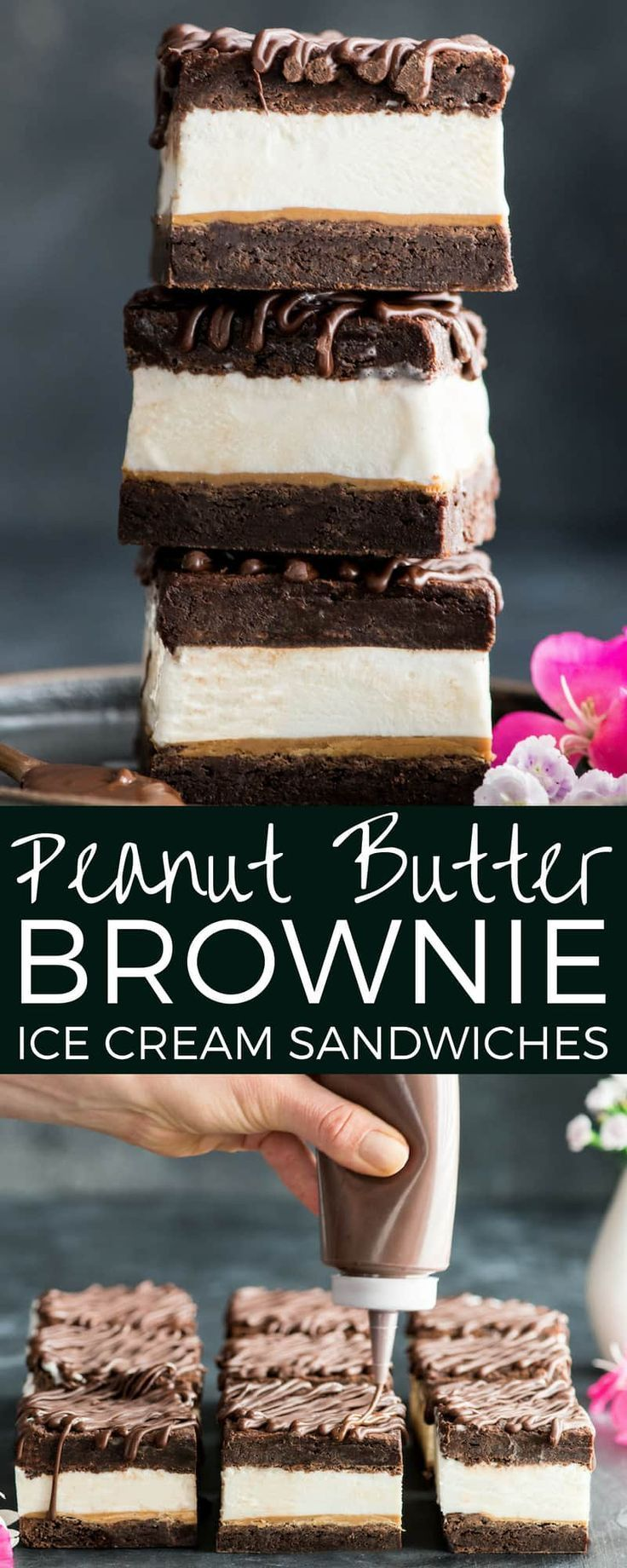 Peanut Butter Brownie Ice Cream Sandwich Recipe is the perfect summer dessert! Layers of ice cream and peanut butter are sandwiched between two rich, flourless peanut butter brownies in a easy, homemade recipe that will be the hit at any party or barbecue! They are gluten-free with an easy dairy-free option!  ...