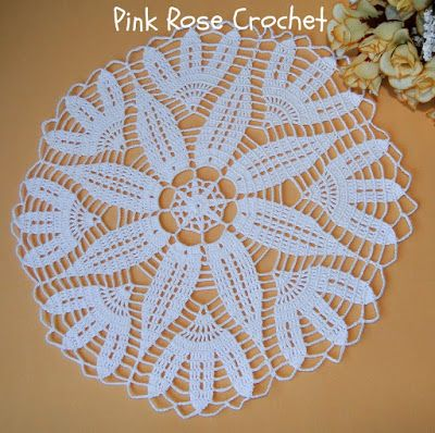 PINK ROSE CROCHET: Centrinho Branco Daisy Doily