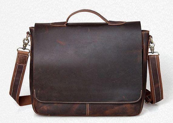 Dark brown retro style leather messenger bag handbag business briefcase Messenger bag