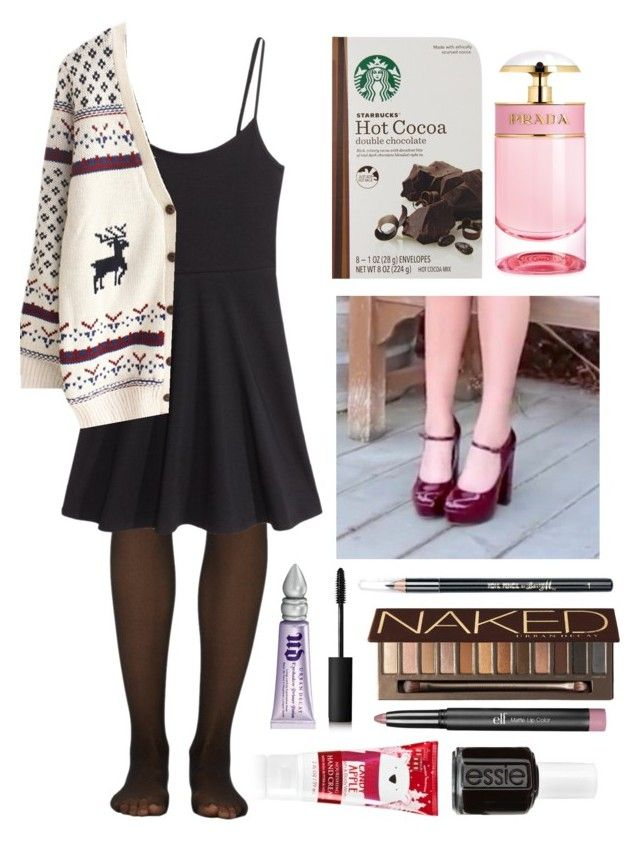 """December 20th!!!!!!!!!!!!!!!!!"" by alohalohamora ❤ liked on Polyvore featuring Fogal, H&M, Prada, Urban Decay, NARS Cosmetics, Barry M, e.l.f., Essie and 25daysofchristmaswithaloha"