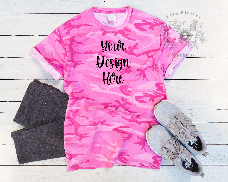Download Pink T Shirt Mockup Camo T Shirt Mockup For Svg And Sublimation Flatlay Instant Digital Download Jpeg Template Shirt Mockup Pink Tshirt Tshirt Mockup