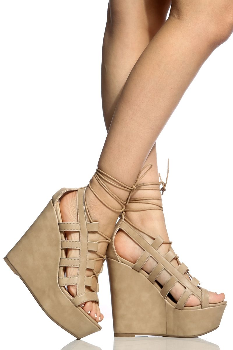 4045d8b820c Natural Faux Leather Lace Up Open Toe Heels   Cicihot Wedges Shoes Store Wedge  Shoes